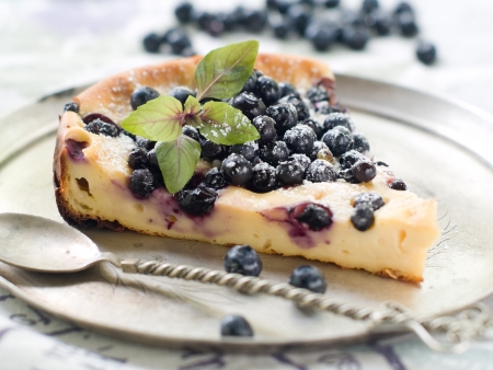 Slice of cake with blueberries, selective focus