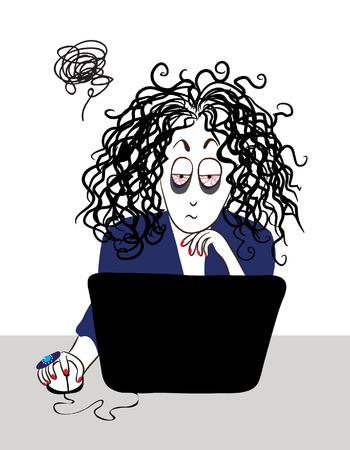 Ilustración de The tired girl with curly hair working near the computer   - Imagen libre de derechos