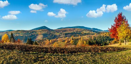 Photo for Morning Carpathian mountains and village hamlets on slopes. - Royalty Free Image