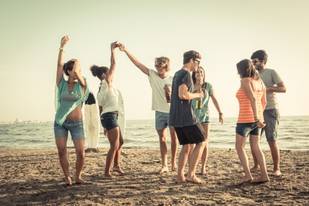 Photo for Group of Friends Having a Party on the Beach - Royalty Free Image