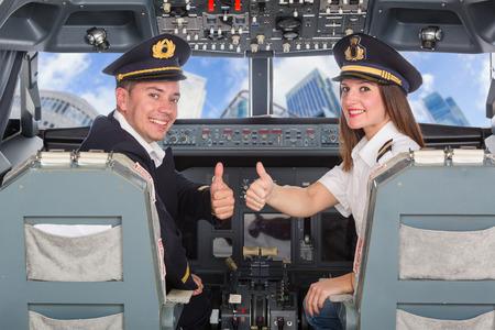 Photo pour Pilots in the Cockpit - image libre de droit