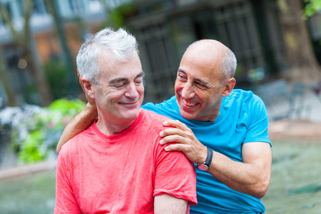 Photo for Gay Couple at Park in New York - Royalty Free Image