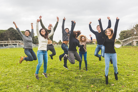Photo for Multiethnic Group of Friends Jumping Together - Royalty Free Image