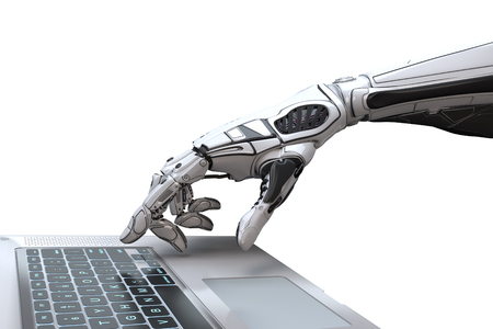 Photo pour Futuristic robot hand typing and working with laptop keyboard. Mechanical arm with computer. 3d render on white background  - image libre de droit