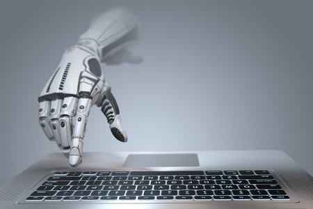 Photo for Futuristic robot hand typing and working with laptop keyboard. Mechanical arm with computer. 3d render on gradient gray background  - Royalty Free Image