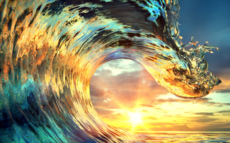 Photo pour Colorful Ocean Wave. Sea water in crest shape. Sunset light and beautiful clouds on background - image libre de droit