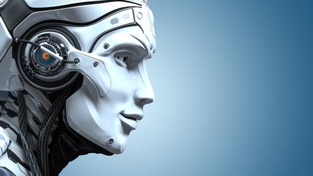 Photo pour Closeup portrait of robot head. Artificial design concept. 3d render - image libre de droit