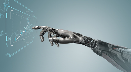 Photo for A robotic mechanical arm looks as like a human hand touching a touchscreen. Cybernetic organism with Artificial Intelligence working with virtual Infographic background . Futuristic design concept. 3d rendering - Royalty Free Image