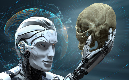 Photo pour Robot with Artificial Intelligence observing human skull in Evolved Cybernetic organism world. 3d rendered image - image libre de droit