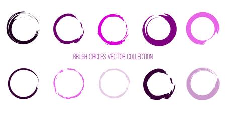 Ilustración de Violet and Pink Colors Paint Circles Template. Brush Round Shapes Color Palette. EPS10. Stroke Circles Collection for Your Design - Imagen libre de derechos