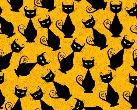 Black cat seamless pattern for halloween.