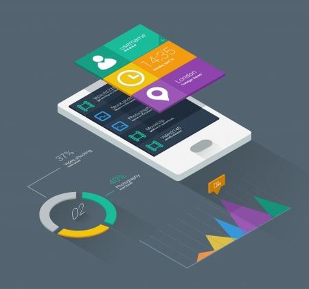 Ilustración de mobile application concept in flat colors and isometric design - Imagen libre de derechos