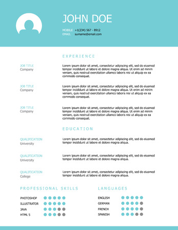 Photo pour Professional clean styled resume template design with a teal header. - image libre de droit
