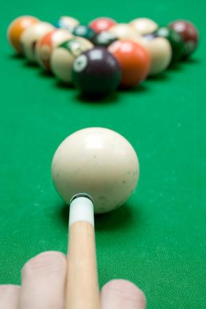 Ready to play pool billiard.