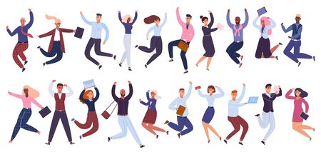 Illustrazione per Jumping business people. Happy businessman, office workers jumped together, success celebration colleagues isolated vector illustration set. Businessman cartoon jumping together employee - Immagini Royalty Free
