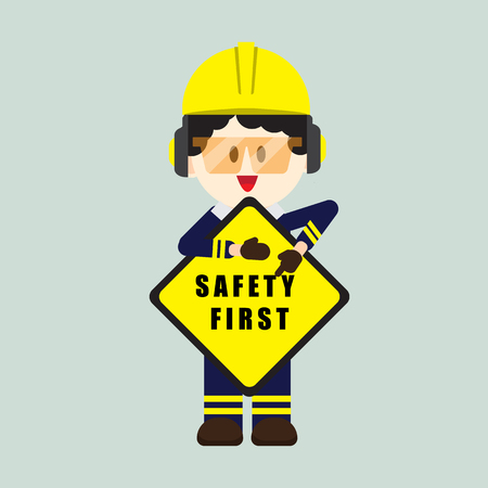 Ilustración de Construction ,Technician worker holding safety first sign, safety first, health and safety, vector illustrator - Imagen libre de derechos