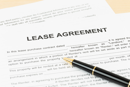 Photo for Lease agreement with pen document is mockup - Royalty Free Image