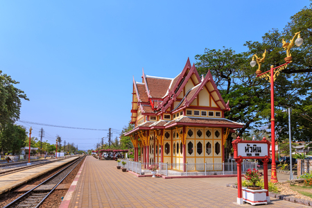 Photo pour Royal pavilion at hua hin railway station, Prachuap Khiri Khan, Thailand - image libre de droit