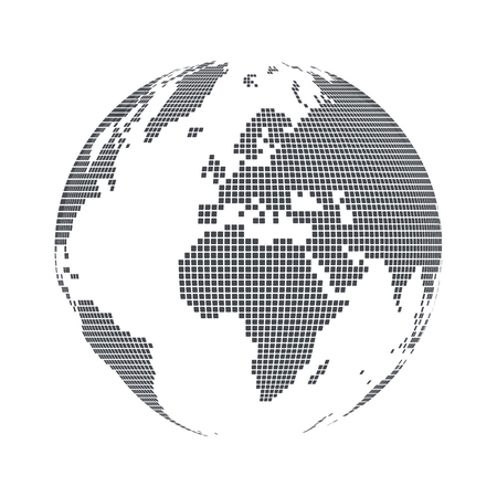 Illustration pour Globe shape, World map with square dots. Vector illustration - image libre de droit
