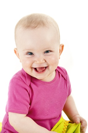 Photo for baby smiling and looking ahead - Royalty Free Image