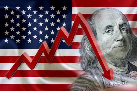 Foto de Flag of the United States of America with the face of Benjamin Franklin on US dollar 100 bill and a red arrow indicates the stock market enter recession period. - Imagen libre de derechos