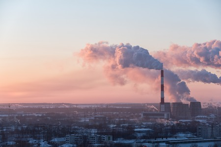 Foto de Image of beautiful industrial cityscape during sunrise - Imagen libre de derechos