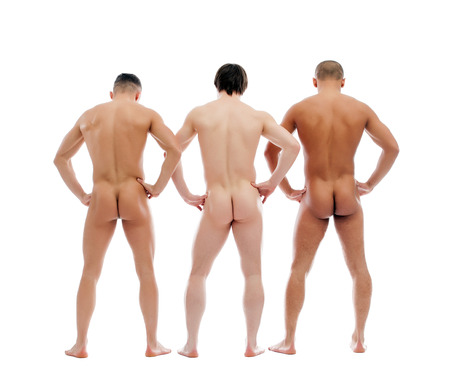 Photo for Three muscular naked men posing back to camera, isolated on white - Royalty Free Image
