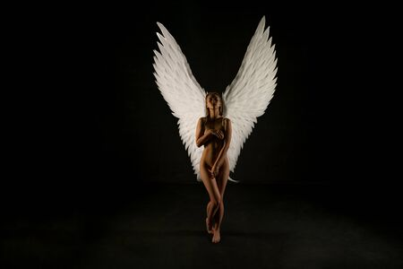 Photo for Nude woman with gorgeous wings shot in the dark - Royalty Free Image