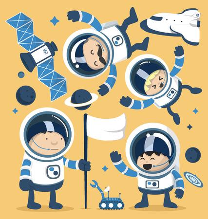 Illustration pour Set character astronauts in space and Rocket Ships Robots,Planets.Vector illustration - image libre de droit