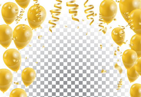 Illustration pour Gold balloons, white background. Vector illustration. - image libre de droit