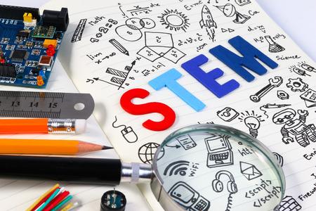 Foto de STEM education. Science Technology Engineering Mathematics. STEM concept with drawing background. Education background. - Imagen libre de derechos