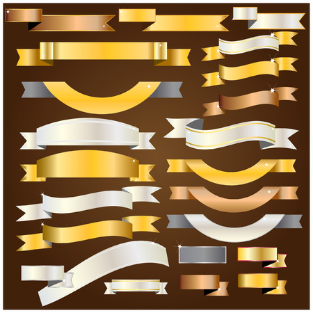 Illustration for Ribbon gold,silver,copper vector - Royalty Free Image