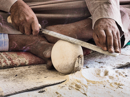 Photo for Egyptian Vase made of alabaster being worked on - Royalty Free Image