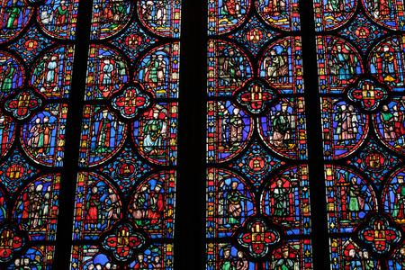 Foto de Paris - Interiors of the Sainte-Chapelle (Holy Chapel). The Sainte-Chapelle is a royal medieval Gothic chapel in Paris and one of the most famous monuments of the city - Imagen libre de derechos