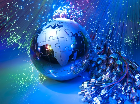 Photo pour world map technology style against fiber optic background - image libre de droit