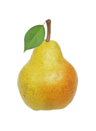 Photo pour Beautiful fresh yellow pear with green leaf isolated on white - image libre de droit