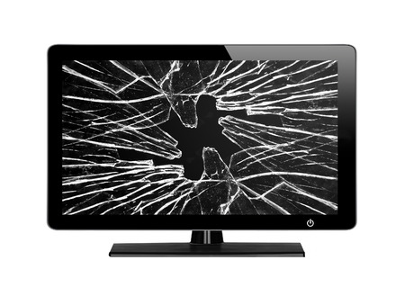 Photo for Modern TV with broken screen isolated on white background - Royalty Free Image