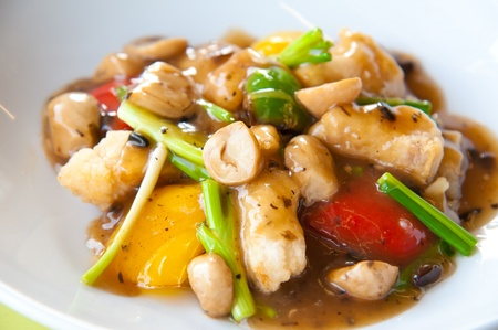 Stir-fried colorful vegetables, mushroom and herb