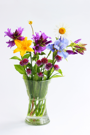 Photo pour a bouquet of different wild field and garden flowers: chamomile, bell, lily, chives, iris. - image libre de droit