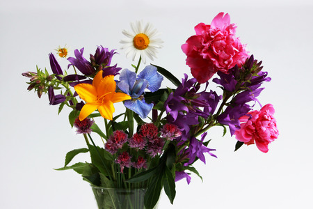 Photo pour a bouquet of different wild field and garden flowers: chamomile, bell, lily, chives, iris, peony. - image libre de droit