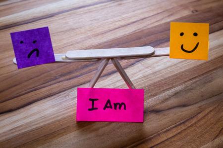 Photo pour concept for I am, embracing both the negative and he positive parts of self to reach a balance - image libre de droit