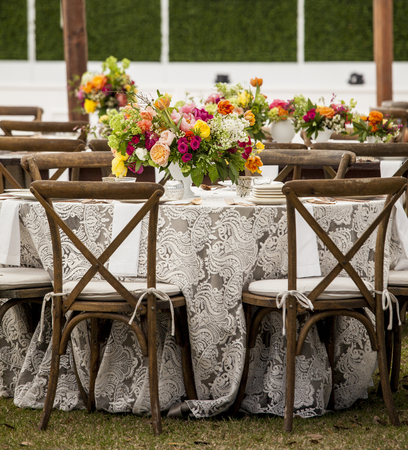 Photo for Low angle view of tables set up for wedding reception - Royalty Free Image