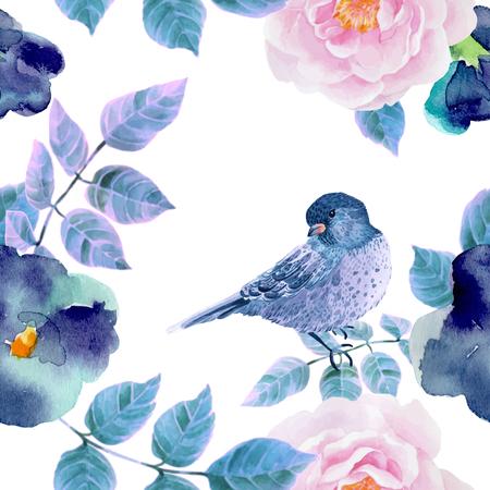 Ilustración de Watercolor seamless pattern with flowers and  birds. Vector illustration - Imagen libre de derechos