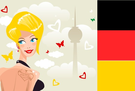 Cute young german woman on background of Berlin symbol silhouette / Country Series - Germany