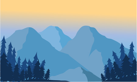 Illustration pour View of the mountain ice and spruce at sunrise - image libre de droit