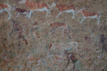 Photo pour Detailled bushmen or San rock paintings at the White Lady panel, Brandberg, Damaraland, Namibia, Southern Africa - image libre de droit