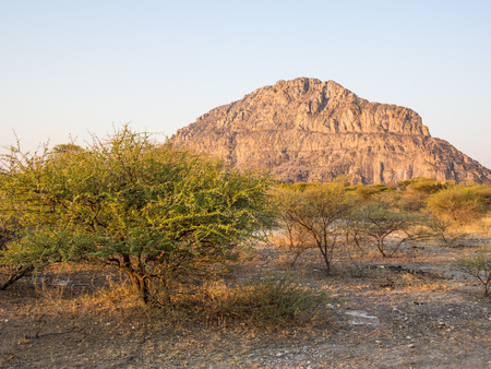 Photo pour Tsodilo Hills heritage site in the kalahari of Botswana during the golden hour - image libre de droit