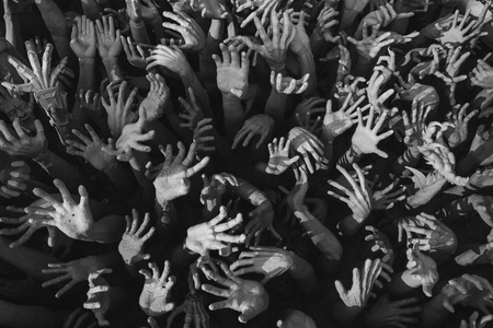Foto de Abstract statue hands for hell concept. - Imagen libre de derechos