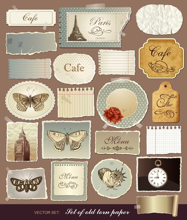 Photo for Collection of various vintage elements with old papers and the torn edges  - Royalty Free Image