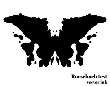 Illustrazione per Rorschach test ink blot vector illustration. Psychological test. Silhouette butterfly isolated. Vector illustration - Immagini Royalty Free